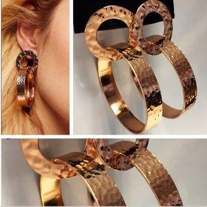Free People Artisan Copper Hammered Hoop Earrings